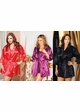 Plus Size Satin 3/4 Sleeve Robe with Sash (available in 12 colors) inset 4