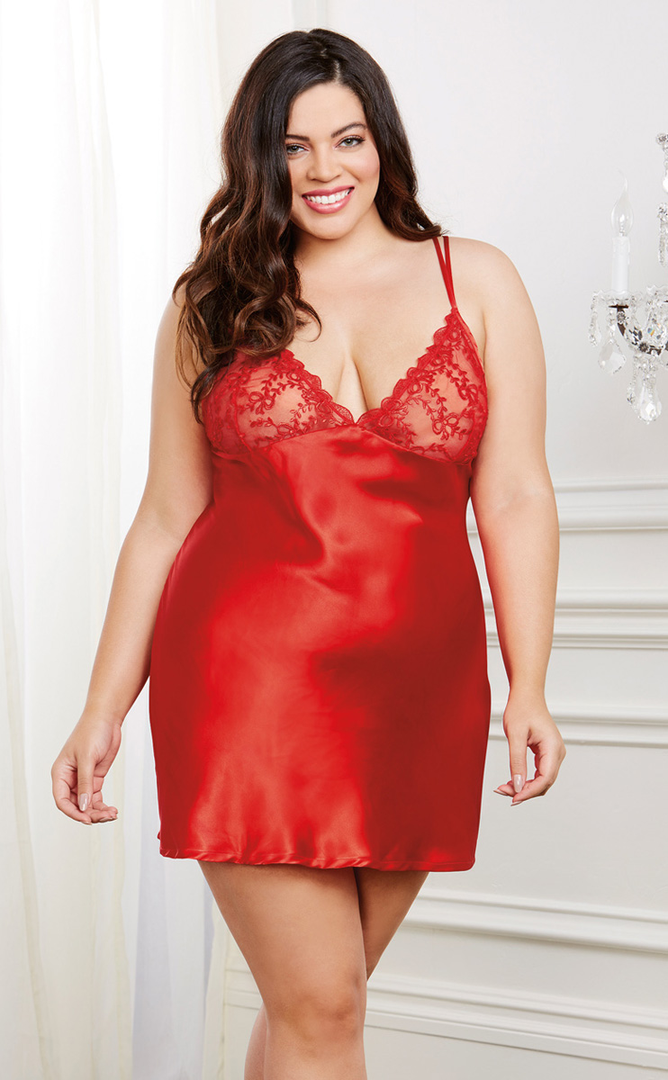 Plus Size Satin And Lace Robe And Matching Slip