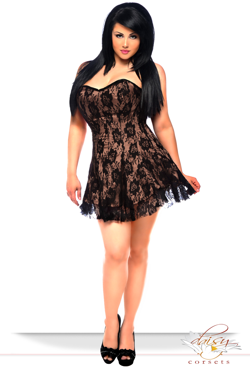 850af6c6f9152 ... Plus Size Tan Satin Corset Dress with Lace Overlay inset 3 ...