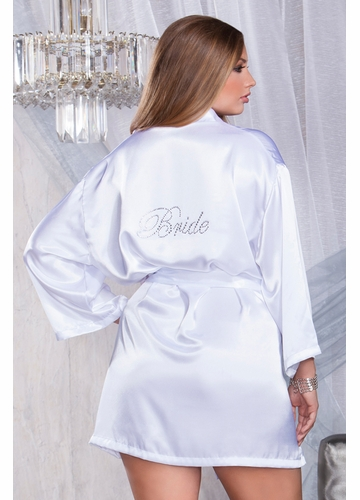 Premium Satin Robe with Crystal Bride Applique