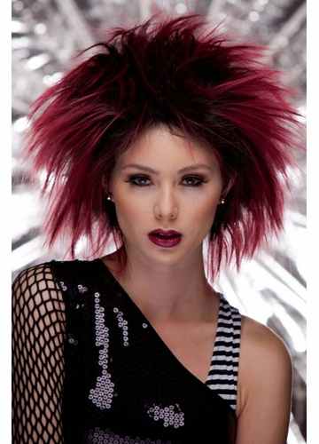 Punk Wig in Black Maroon
