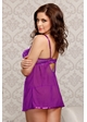 Purple Lace and Mesh Babydoll and Thong inset 1
