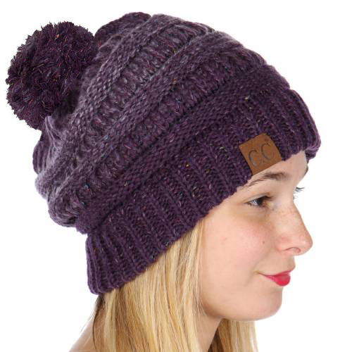 861f274a Purple Ombre Confetti Knit CC Beanie Hat with Pom Pom