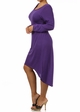 Purple Plus Size Long Sleeve Knit Dress with Scoopback Neckline inset 1