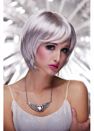 Razor Cut Bob Wig With Bangs in Edgy Chrome Mystic