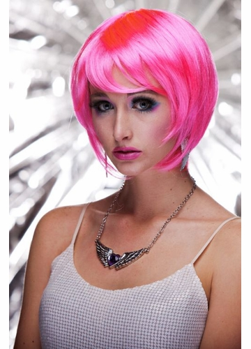 Razor Cut Bob Wig With Bangs in Pink Explosion