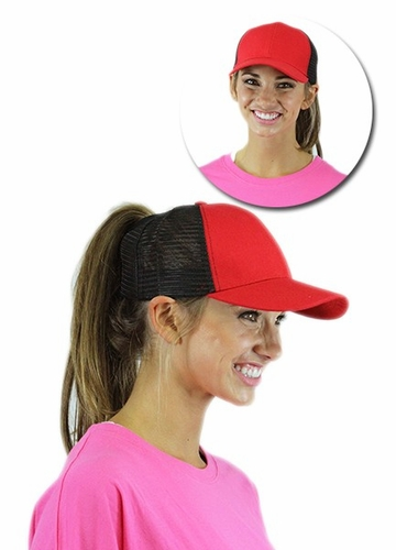 Red and Black Trucker Ponytail Hat with Mesh