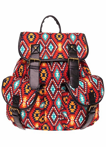Red Aztec Print Canvas backpack from Zohra