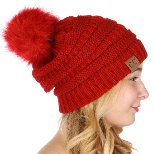 6df5ccec132 ... Red CC Knit Beanie Hat with Matching Fur Pom Pom inset 2 ...