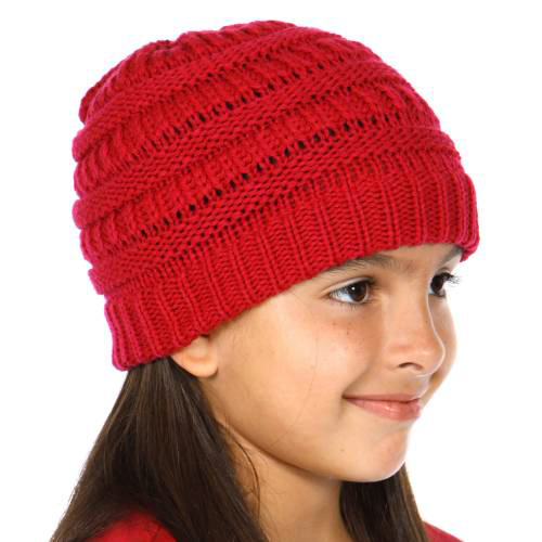 Red Kids Knit Beanie Hat From Cc Brand