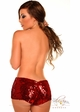 Red or Turquoise Sequin Elastic Booty Shorts inset 1