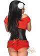 Red Ruffle Shorts with Bow Accents inset 1
