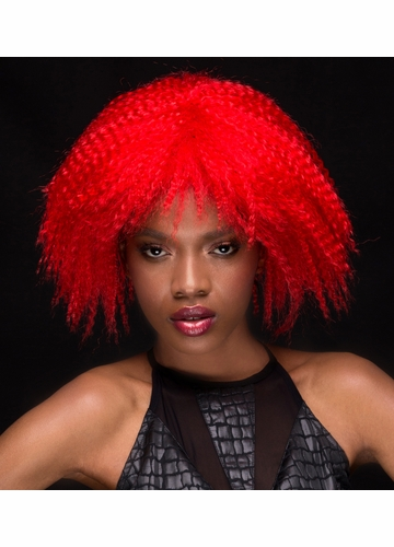 Red Textured Above the Shoulders Wig Zoey