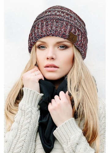 Red, White and Blue with Silver Metallic CC Beanie Hat