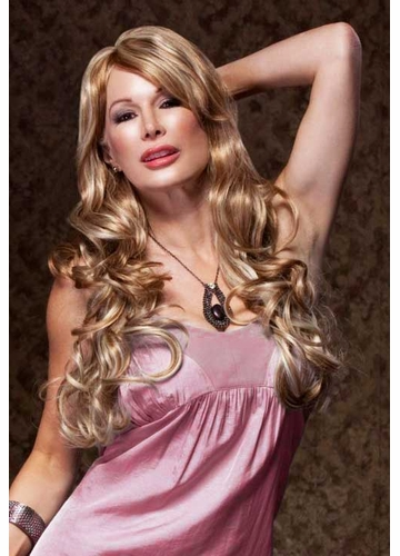 Romantic Curly Wig with Side Swept Bangs in Frosted Blonde Broadway