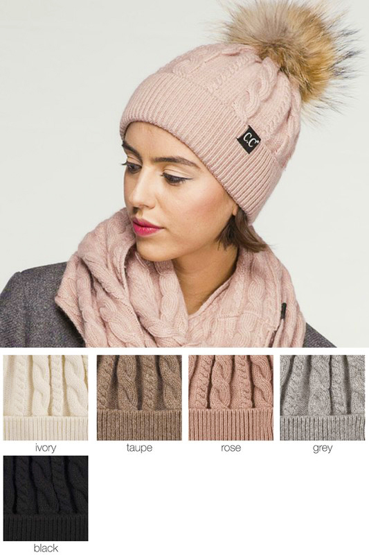 Angora Cable Knit CC Beanie Hat with Fur Pom Pom 738399e875e