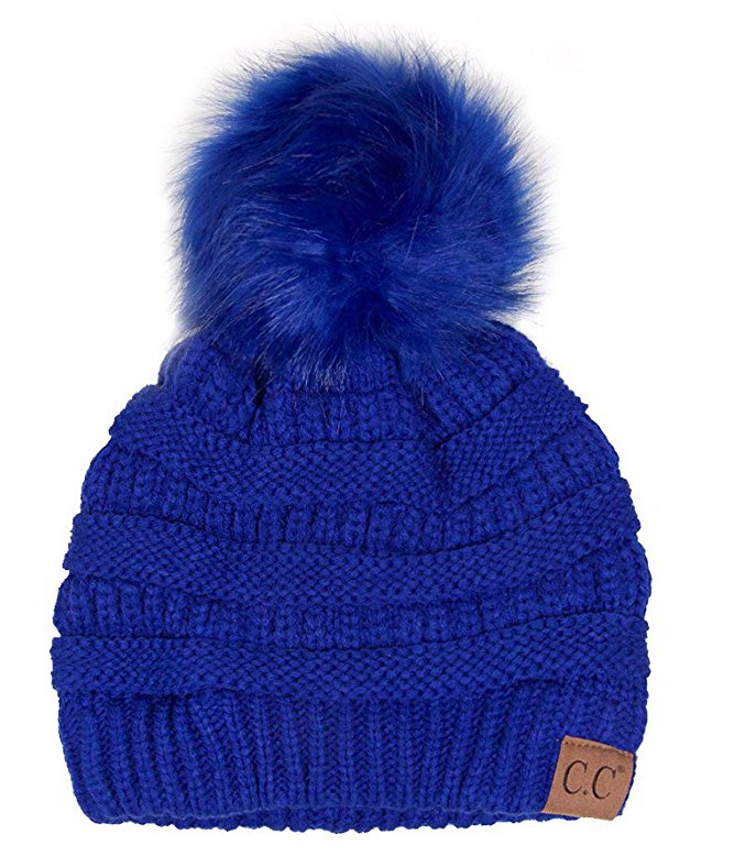 Royal Blue CC Knit Beanie Hat with Matching Fur Pom Pom 31a093ab442