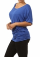 Royal Blue Plus Size Short Sleeve Top with Side Ruching inset 1