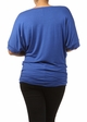 Royal Blue Plus Size Short Sleeve Top with Side Ruching inset 3