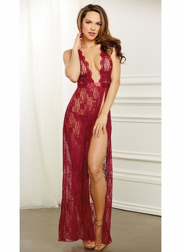Ruby Red Lace Floor Length Babydoll