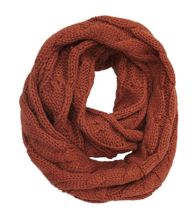 Rust Cc Brand Cable Knit Infinity Scarf