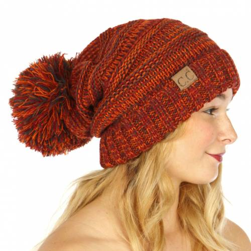 4c4748843a157 Rust Multi Color Oversized Slouchy Beanie with Pom Pom