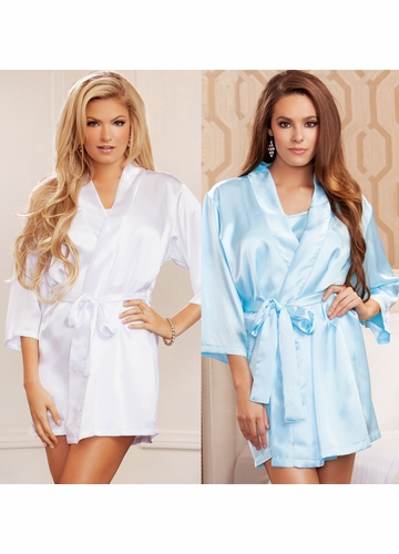 Satin 3/4 Sleeve Robe with Sash (available in 12 colors)