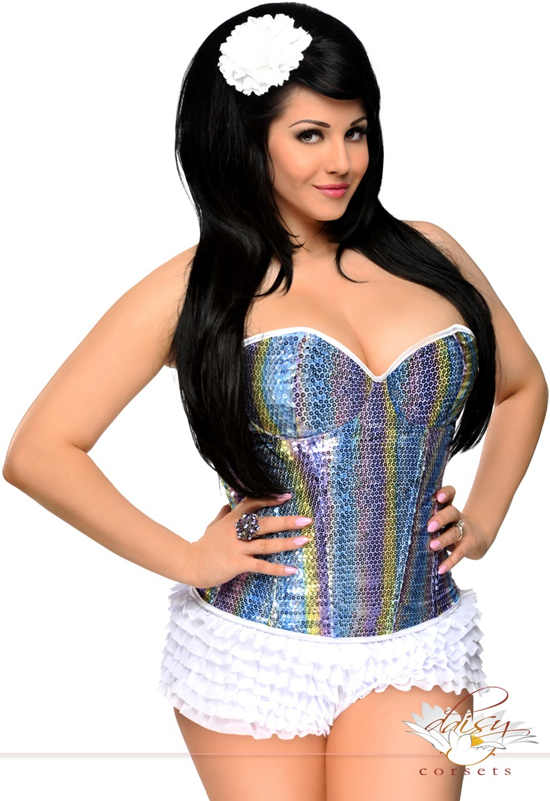 7652e4842a Sequin Rainbow Corset with Lace-Up Back