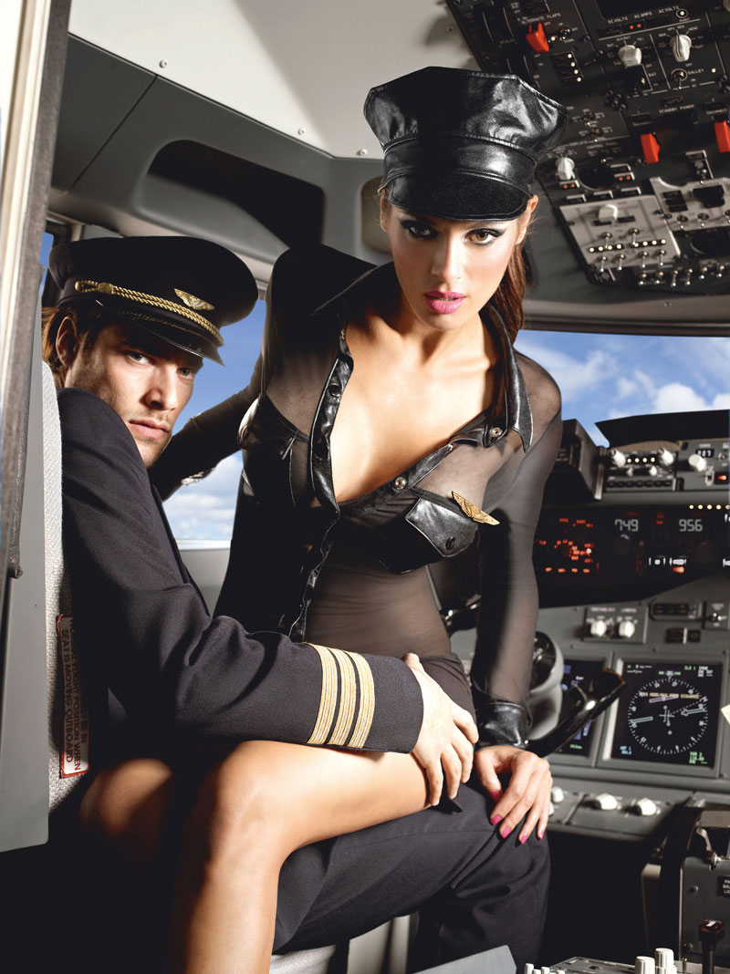 Sexy Airline Stewardess Lingerie Costume, Badge And Hat-7030