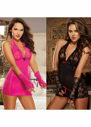 Sexy Halter Babydoll with Lace Cups and Lace Gloves with Ties