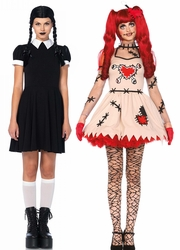 Wednesday Addams, Skeleton, Zombie, Day of the Dead and Woodoo Doll Costumes
