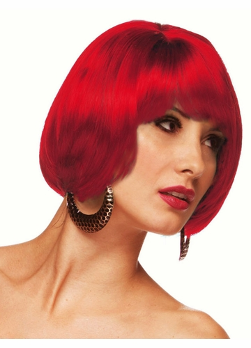 Short Bob Wig Becky in Firecracker Red