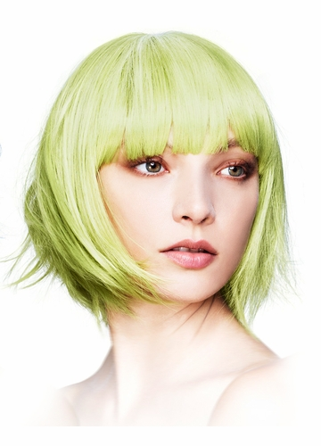 Short Bob Wig Mia with Fringe in Green