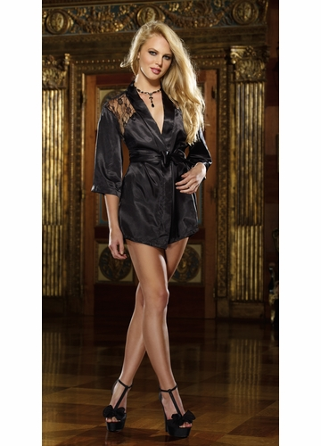 Short Length Black Kimono Robe with Lace Back, G-String