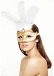 Showgirl Glitter Mask with Feathers inset 1