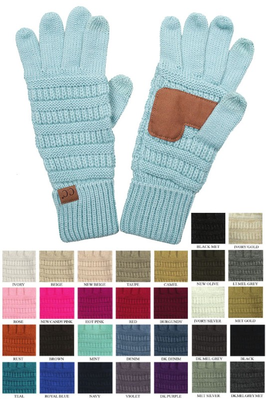 Solid Color Groove Knit Gloves By Cc