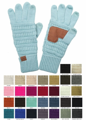 Solid Color Groove Knit CC Gloves
