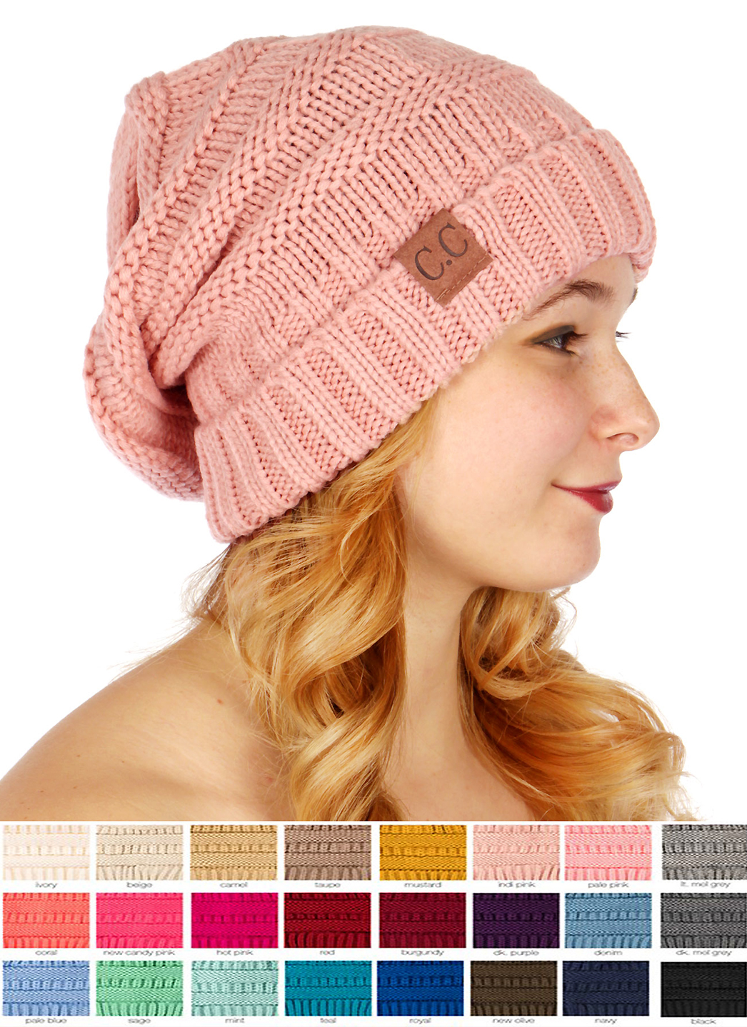 Solid Color Slouchy Cc Beanie Hat