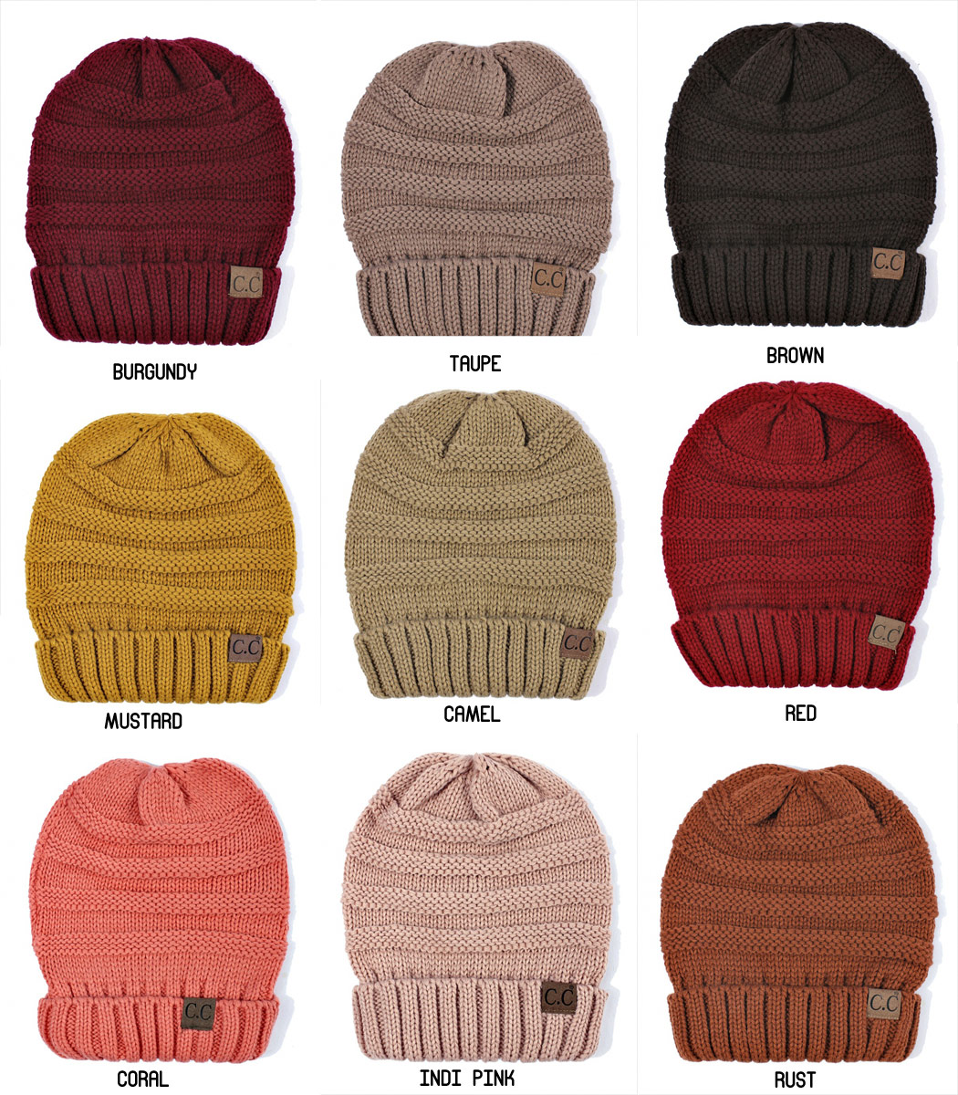 Solid Color Slouchy CC Beanie Hat inset 1 ... 3943ad64e391
