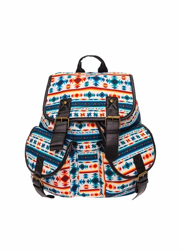 Square Aztec Print Canvas Backpack by Zohra