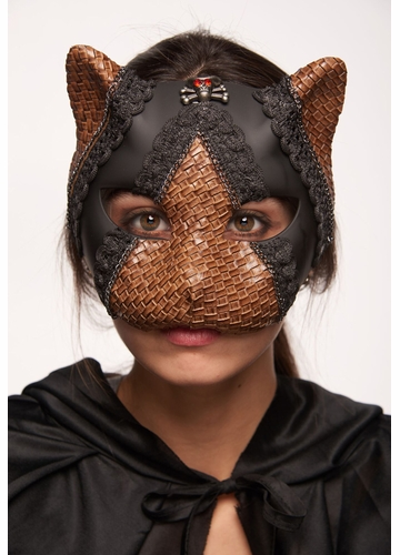 Steampunk Kitten Mask with Leather and Lace