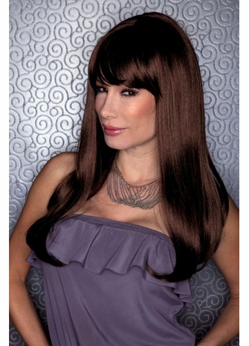 Straight Long Kelly Wig with Full Bangs in Chocolate Brown