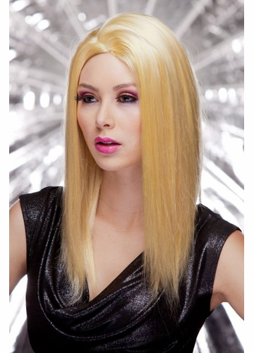 Straight Wig with Razored Edges in Apricot Blonde