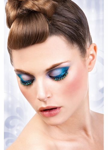 Super Glam Black False Lashes with Blue and Green Crystals