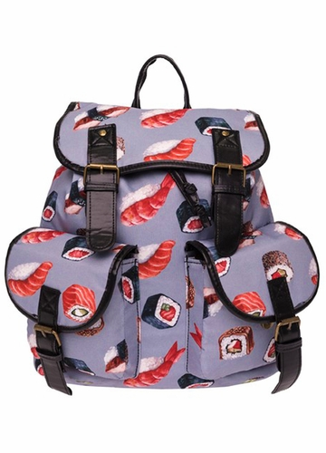 Sushi Print Canvas Backpack by Zohra