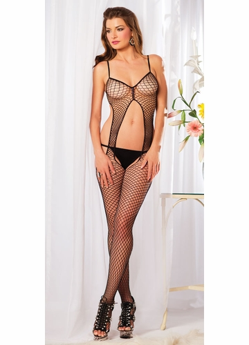Suspender Net Bodystocking with Open Back