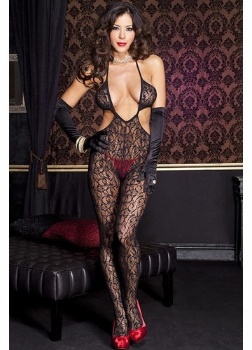 Swirl Lace Cutout Black Bodystocking