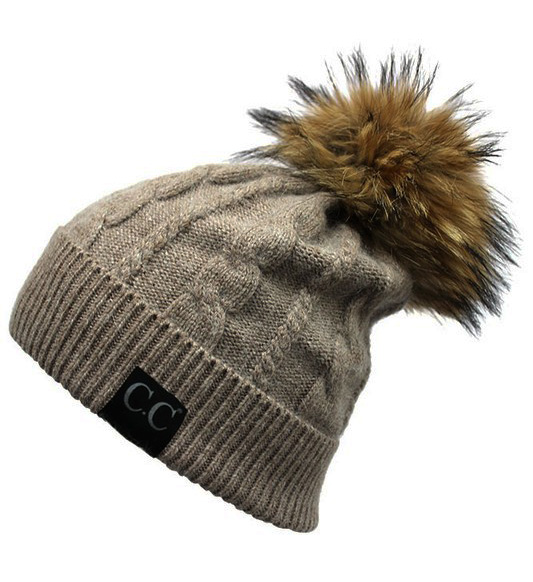 d6f9df4fe6026 Taupe Angora Cable Knit CC Beanie Hat with Fur Pom Pom