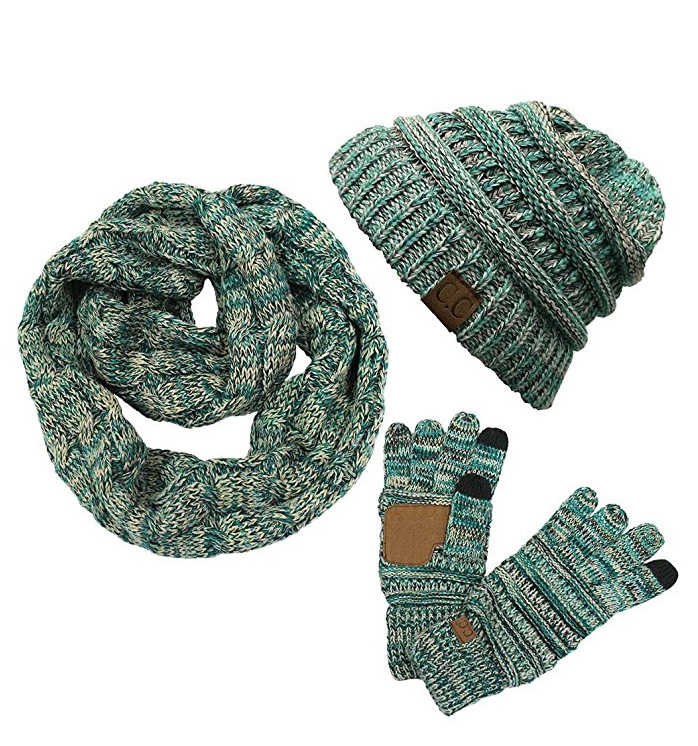 Teal Multi Color Knit Scarf from CC Brand