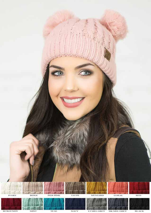 Thick Knit CC Beanie Hat with Double Pom $15.00